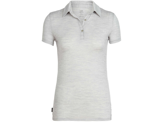Icebreaker Tech Lite SS Polo Shirt Women blizzard heather
